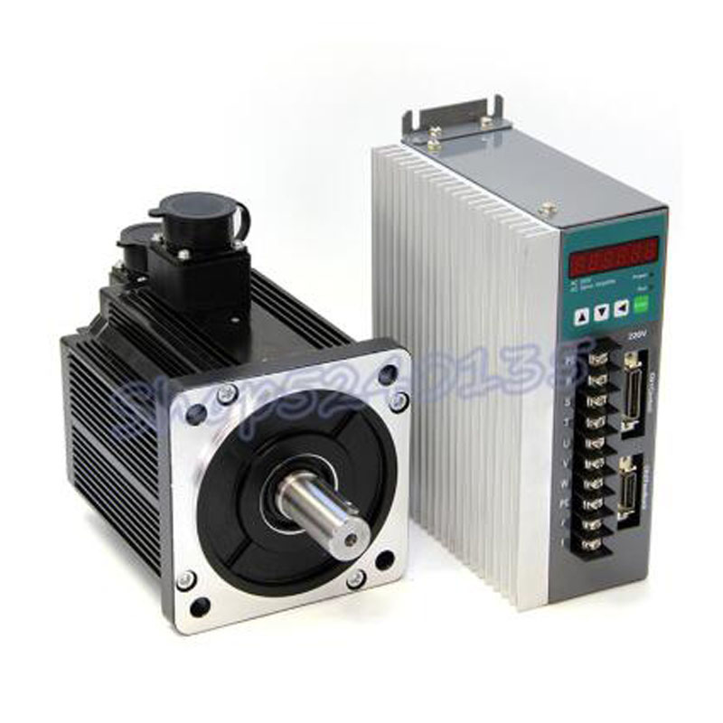 130ST-M04025 220V AC <font><b>1KW</b></font> Servo <font><b>motor</b></font> AC drive set 1000w 4N.M high speed 2500 rpm with 3m cable for CNC router engraving image
