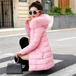 Image 4 - Winter Toevallige Bovenkleding Jassen Vrouwen New Fashion Koreaanse Style Capuchon Met Bont Warm Thicken Parka Vrouwen Lange Jassen P112