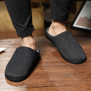 Image 3 - Mens Home Slippers Winter Warm Shoes With Fur Flat Casual Shoe Men Footwear Non slip Slipper Comfort Zapato Hombre Plus Size 47