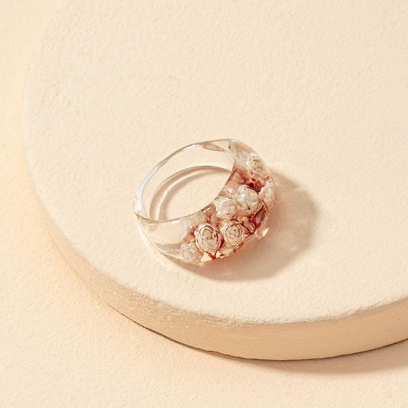 Colorful Rings Gift for her Everyday Rings Transparent Acrylic Resin Dried Flower Ring Fashion Ring Acrylic Ring Minimalist Ring