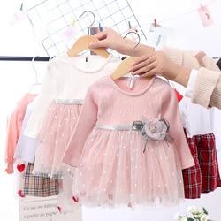 Летнее и осеннее милое Сетчатое платье принцессы с длинными рукавами и круглым вырезом для маленьких девочек