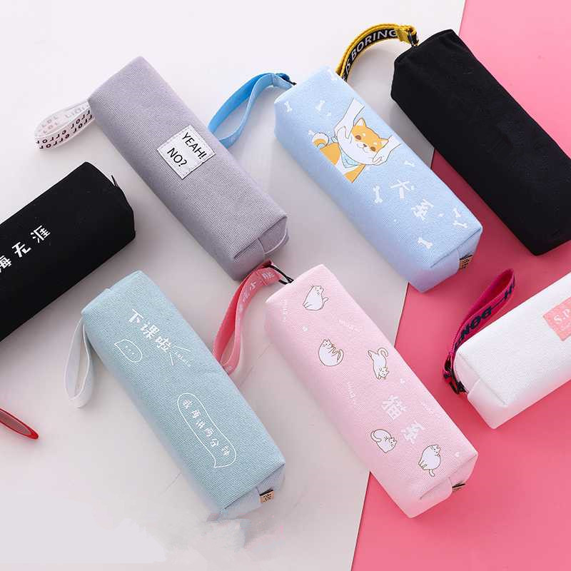 Creative Zipper Pencil Case Makeup Pouch Storage Holder Canvas Pen Organizer For School Stationery Supplies Student Gift