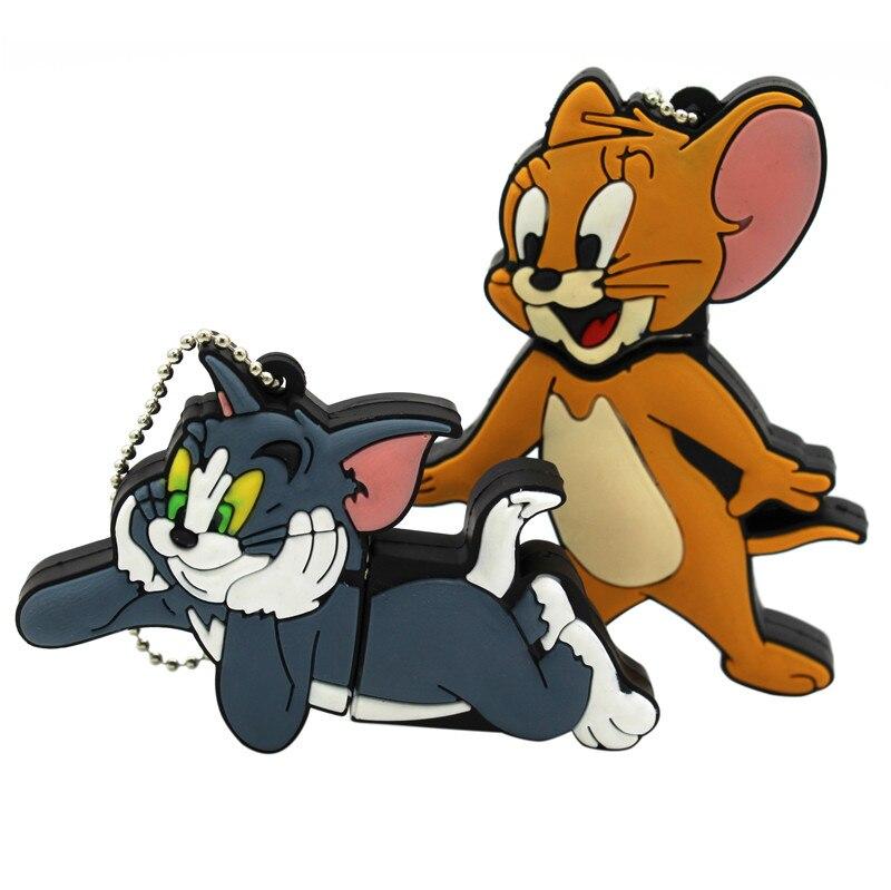 TEXT ME Cartoon  64GB  Cute Cat And Mouse USB Flash Drive 4GB 8GB 16GB 32GB Pendrive USB 2.0 Usb Stick