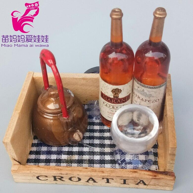 Mini Doll House Model Food Fuit Kitchen Pots Pans Dishes Wine Bottle Mini Cola Bottle For Barbie Doll Accessories