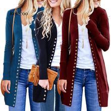 Autumn Long Jacket Coat Women Ladies Sleeve Slim Knitted Cardigan Outwear