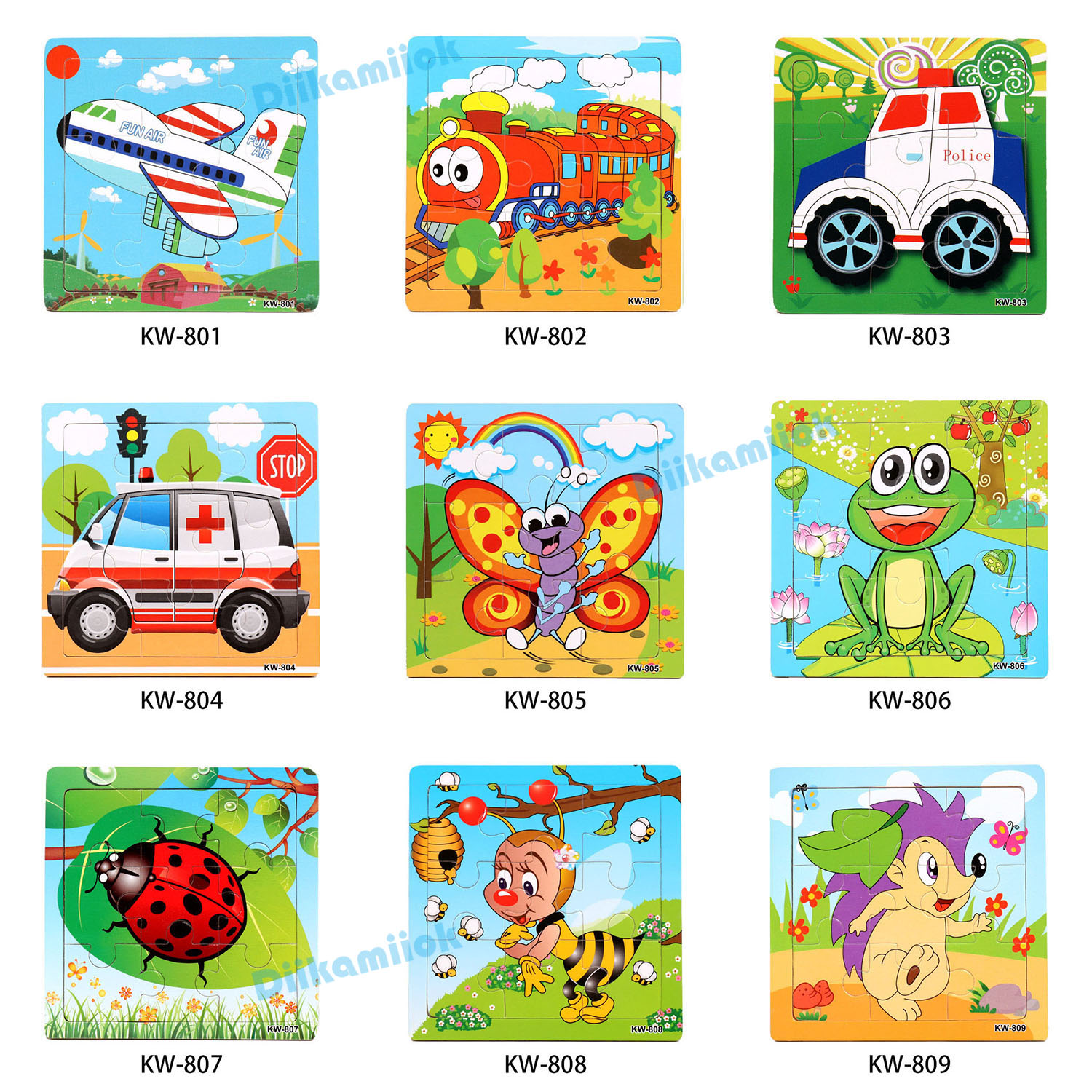 Sale 9 Pieces of Wooden Puzzle Cognition Animals and Vehicles Jigsaw Kindergarten Children Educational Toys Baby Wood Toy Gifts 6