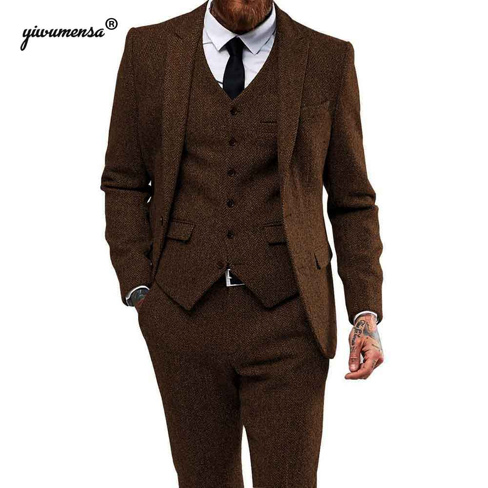 Royal Bule Herringbone Tweed Wedding Suits For Men 3 Pieces Smoking Blazer Man Suit Costume Homme Last Jacket With Pants Tuxedo