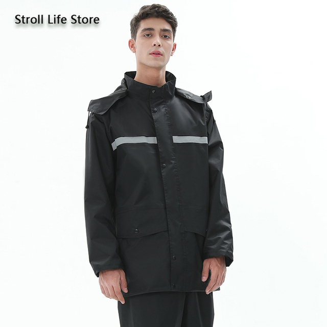 Black Motorcycle Raincoat Jacket Rain Coat Waterproof Suit for Fishing Double Layer Thickened Rainwear Capa De Chuva Gift Ideas