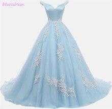 Женское вечернее платье с открытыми плечами Голубое Бальное