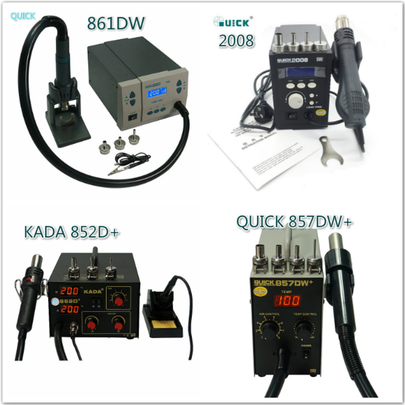 QUICK 861DW Hot Air BGA Soldering Station + KADA 852D  Rework  Solder Iron With   Gun For SMD IC Chips Repair