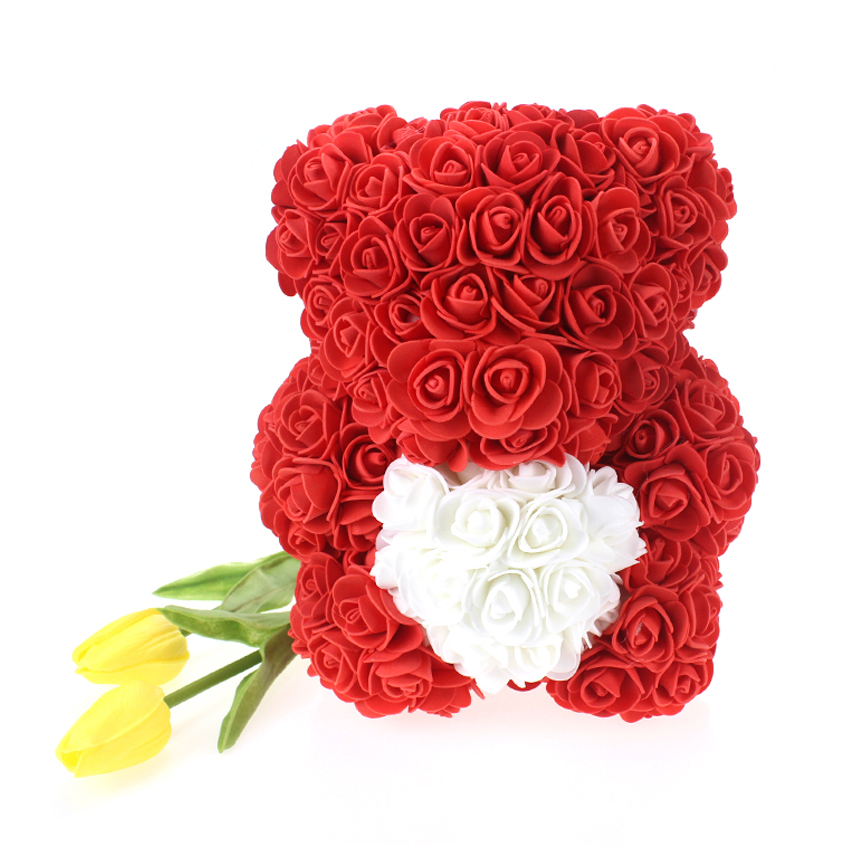 LED Rose Bear Flower Teddy In Box Gifts For Wedding Birthday Valentine Romantic