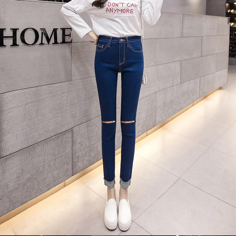 Black And White With Pattern Knee Large With Holes Jeans Women's Tight-Fit Elasticity Slimming High-waisted Skinny Pencil Pants