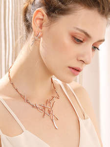Viennois Ring-Jewelry-Sets Earrings Rose-Gold Wedding-Party Women for