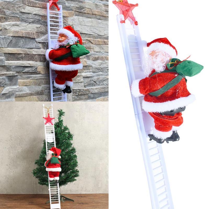 Christmas Electric Santa Claus Climb Ladder Showcase Toy Music Creative Toy Decor House Christmas Tree Hanging Decoration