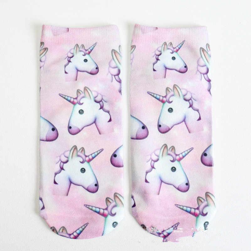 Bunte Einhorn Licorne Weiche Baumwolle Socken Frauen Frühling Sommer Lustige Socken Süße 3D Drucke Socken für Schwangere Mutterschaft