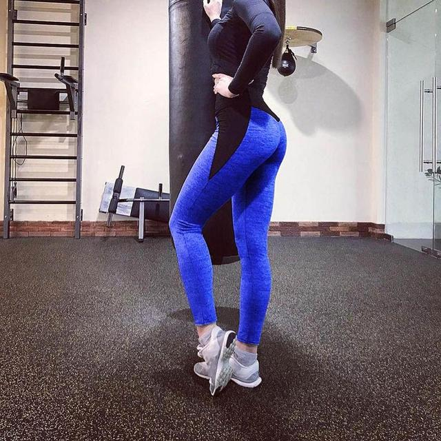 Black Gray Patchwork Fitness Leggings Women's High Waist Push Up Skinny Pants Elasticity Workout Thick Leggings For Women  3