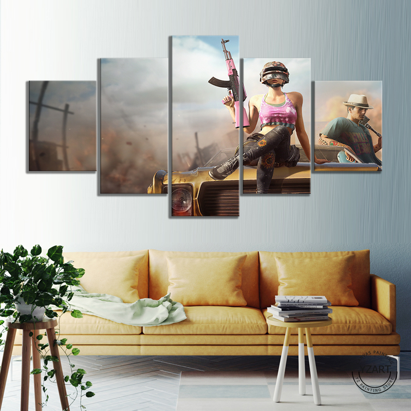 5pcs PUBG Warrior Poster Paintings HD Wall Picture Canvas Paintings for Bedroom Decor PUBG Game Poster 3