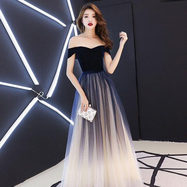 Navy blue elegant Prom party Dresses  Vestido de Festa dress evening long frock robe de mariee robe communion fille robe sequin 5