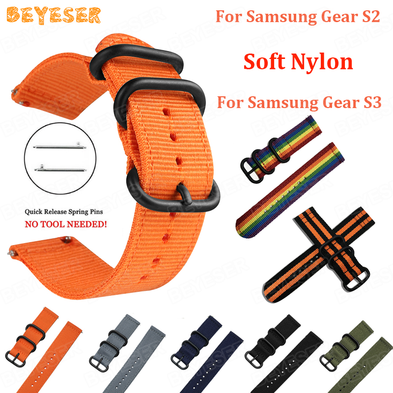 Soft nylon For Samsung Gear S3 Classic Frontier watch band 20mm 22mm Replacement For Samsung gear S2 strap wristband Bracelet in Smart Accessories from Consumer Electronics