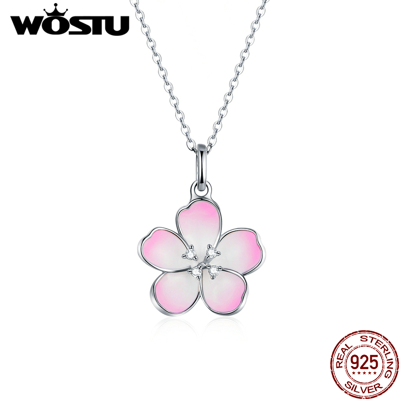 WOSTU Genuine 925 Sterling Silver Sakura Blooms Necklace Pink Flower Enamel Long Chain Link For Women Original Jewelry CTN160