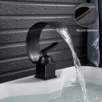 Basin Faucets Bath Basin Mixer Faucet Creative Waterfall Water Outlet Bathroom Vessel Sink Mixer Taps Hot and Cold Water Mixer 8