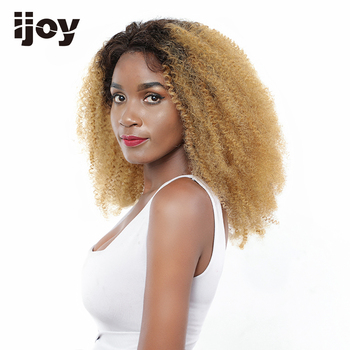 """Kinky Curly Wig 4x13 Lace Front Ombre 27 Honey Blonde Colored Wig 12""""-26"""" M Real Length Brazilian Human Hair Wig Non-Remy IJOY"""