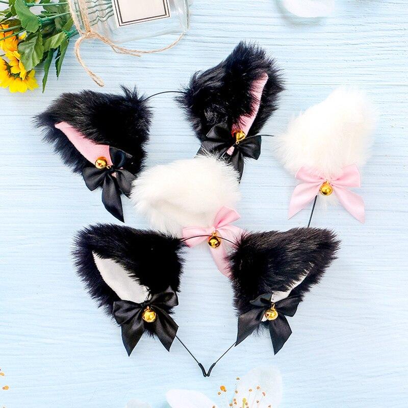 15 cores bonito masquerade dia das bruxas orelhas de gato cosplay festa traje da orelha do gato laço sino headwear acessórios para o cabelo