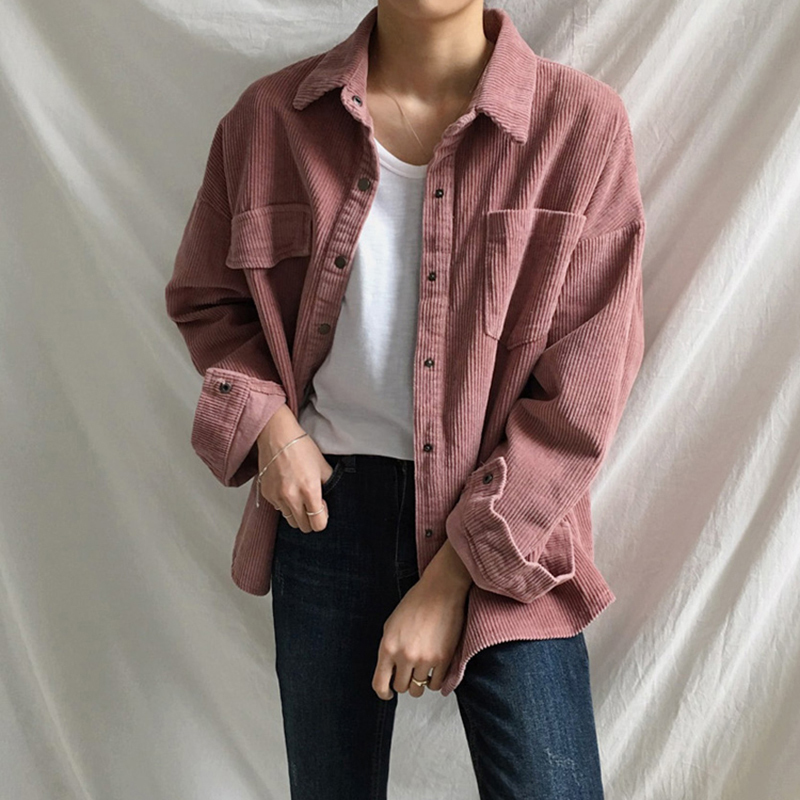 [EAM] Loose Fit Apricot Corduroy Big Size Jacket New Lapel Long Sleeve Women Coat Fashion Tide Spring Autumn 2020 1DA744 3