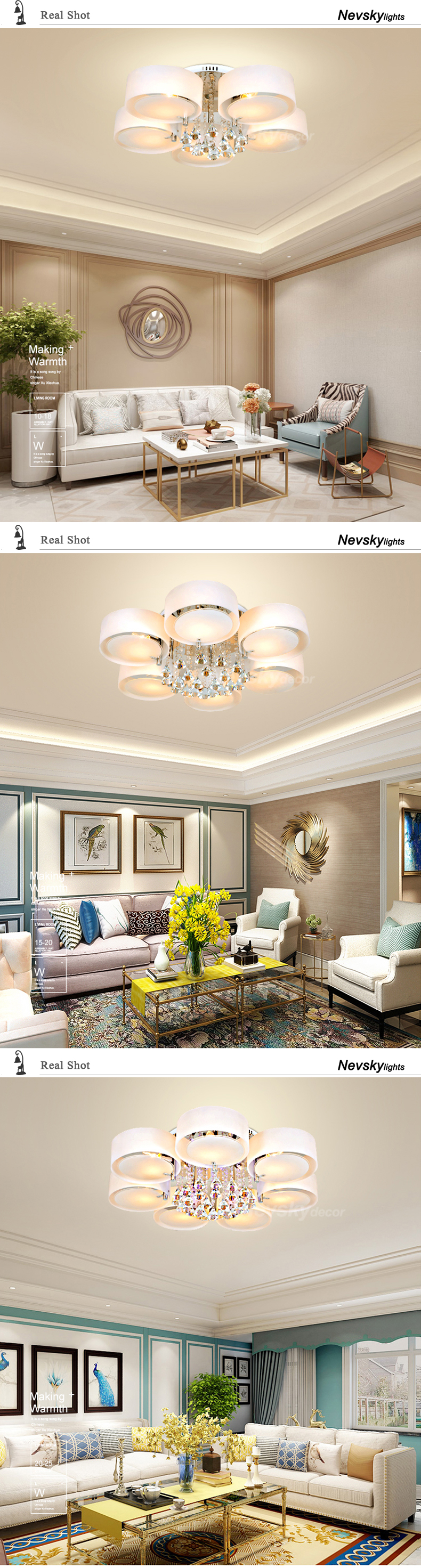H308ae08d4e1843d68fcc6ad5de0b5436Q Modern crystal Ceiling Lights living fashionable design light dining  changeable led ceiling lamp bedroom white shade acrylic