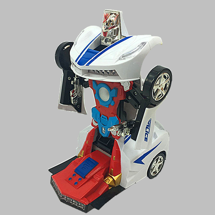 Children's Car Model Toy Electric Transformer Light And Sound Universal Variant Robot Toy Car