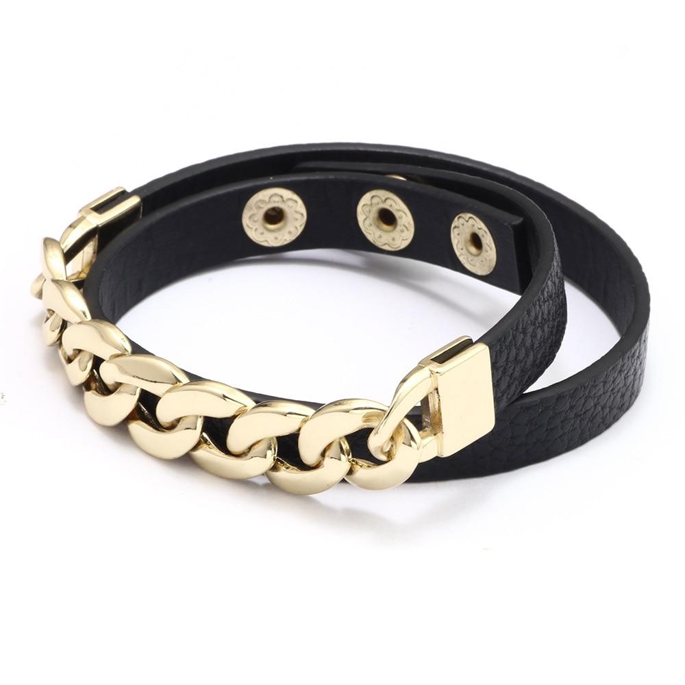 Kirykle breloque chaîne en or bracelet pour femmes mode Plaid bracelet en cuir Six couleurs réglable multi-couche bracelet fille cadeau