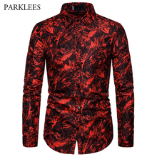 Red Printing Fashion Nightclub Party Sexy Design Shirts Mens 2019 New Casual Slim Fit Trend Long Sleeve Shirt Mens Clothing