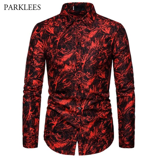 Rot Druck Mode Nachtclub Party Sexy Design Shirts Männer der 2019 Neue Casual Slim Fit Trend Lange Hülse Hemd Männer der Kleidung