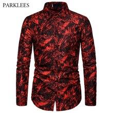 Rouge impression mode discothèque fête Sexy Design chemises hommes 2019 nouveau décontracté mince coupe tendance à manches longues chemise vêtements pour hommes