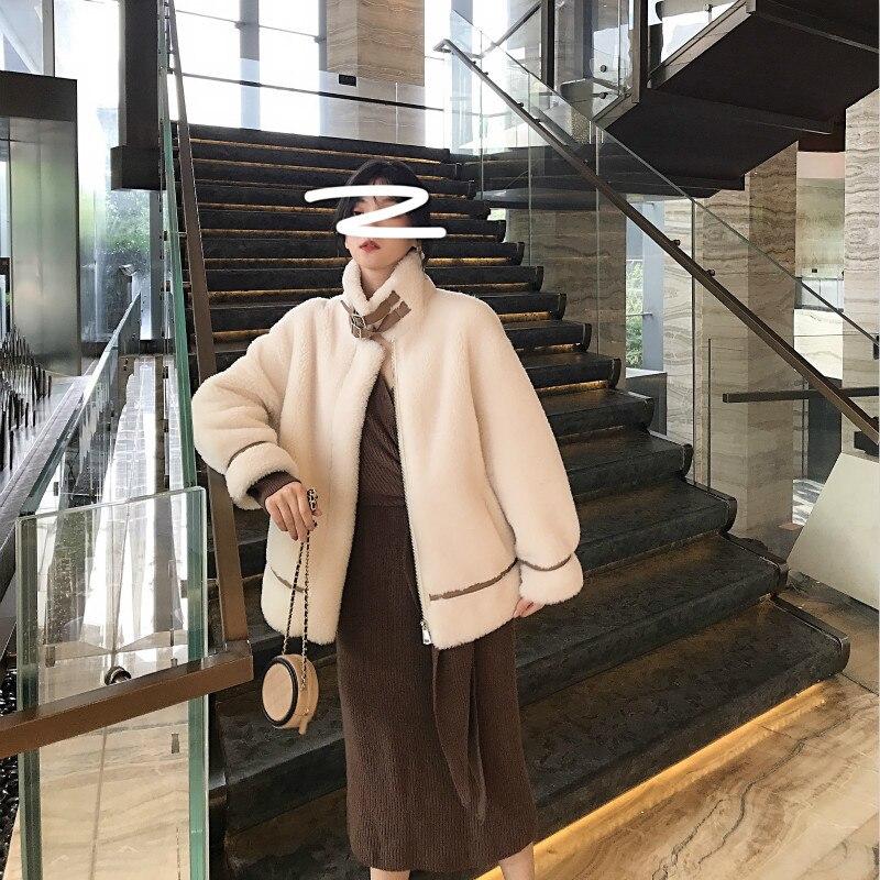 Winter Coat Women Sheep Shearing Real Fur Coat Women Korean 100% Wool Jacket Women Clothes 2020 Manteau Femme YY1035