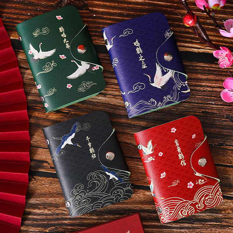 1 Pcs Vintage Chinese Style Animal Crane PU Card Holders Women Lady Passport Credit ID Business Card Wallet Coin Case Bag Gift