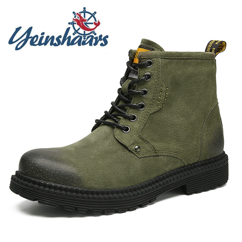 Mens Shoes Suede Boots Fashion Winter Outdoor Shoes Casual Classic British Style Shoes 2020 Ankle Boots Motorcycle Martin Green