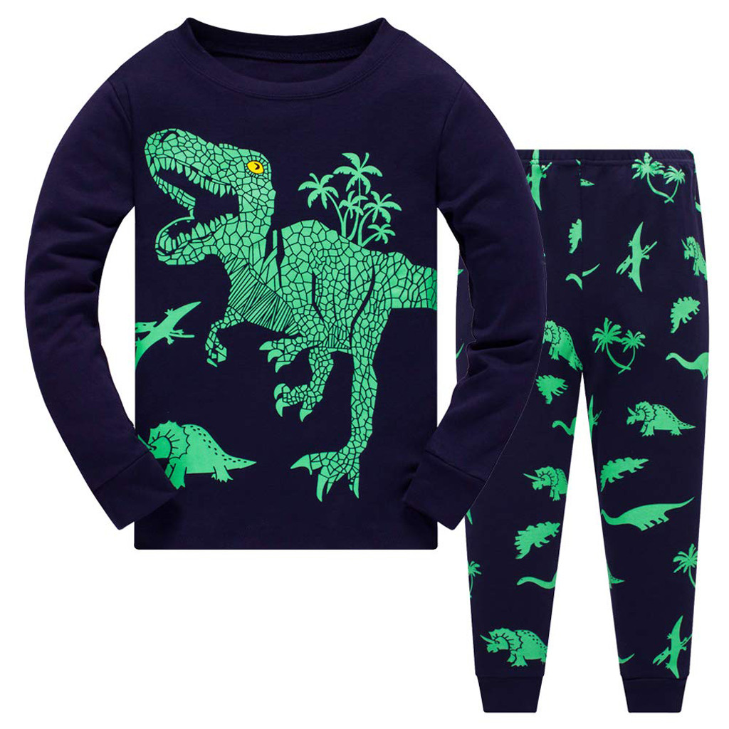 Little Cat Boys Dinosaur Pajamas 2 Piece Toddler Kids Sleepwear Clothes Sets Size 3