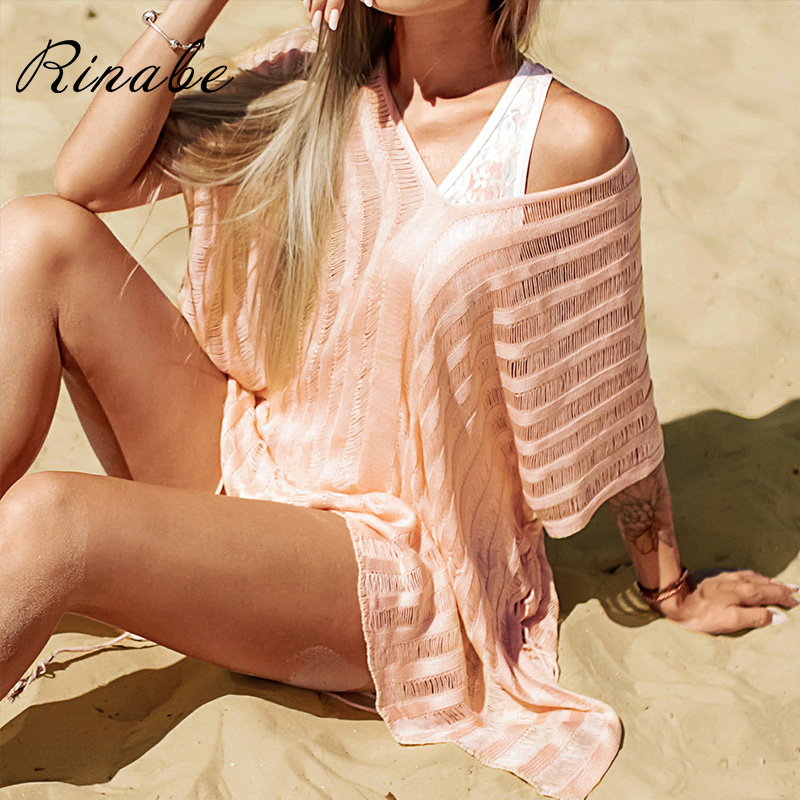 Rinabe Transparent Bikini Cover Up Deep V Neck Swimsuit Pareos Solid Dress Cover-Ups Hollow Out Beachwear Women Bathing Suit