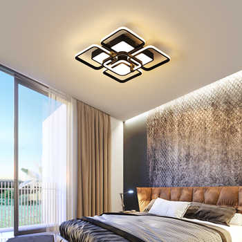 Modern Black Chandelier Lighting Rectangle lamps With Remote Control Dimmable AC 110-220V LED Lamp For Living Room Bedroom Deco