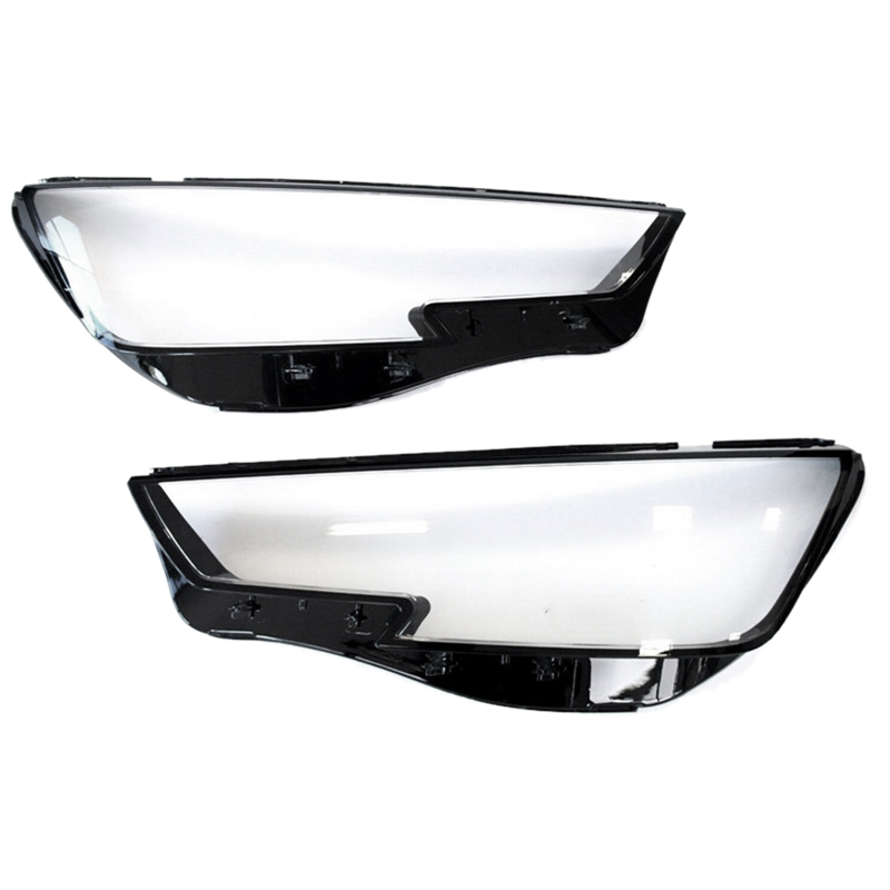 2Pcs Car Clear Headlight Lens Cover Replacement Head Light Lamp Cover For-Audi A4 B9 2015-2018