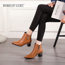 ROBESPIERE New Winter Warm Plush Zipper Ankle Boots Pointed Toe Square High Heel Lady Shoes Fashion Pop European Women B3