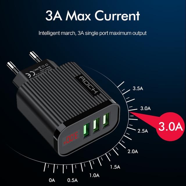 3 ports USB chargeur de téléphone prise ue 3A Max affichage LED intelligent rapide chargeur mural adaptateur pour iPhone iPad Samsung