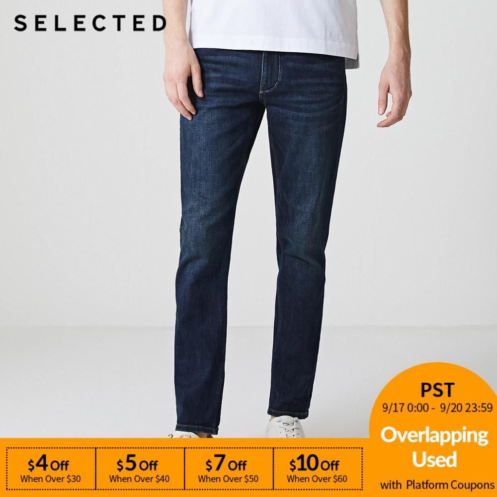 SELECTED Men Jeans Lycra Slight Stretch Vintage Slim Autumn & Winter Fit Denim Pants Streetwear Moustache Effect S|418332532