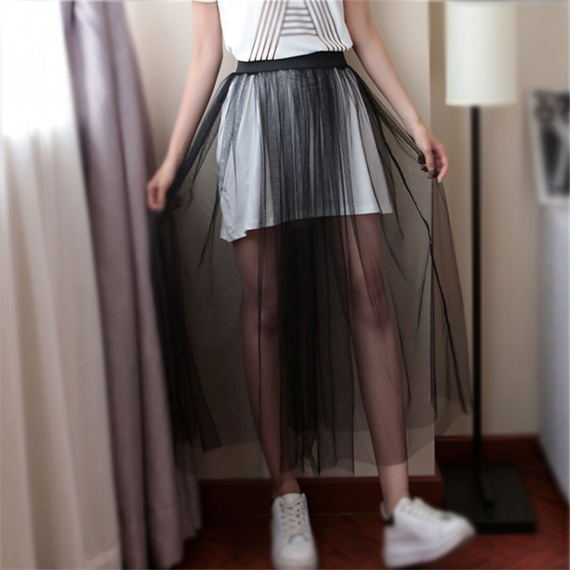 Tulle Mesh Lace Long Skirts Womens Black Gray White Adult Tulle Skirt Elastic High Waist Transparent Pleated Midi Skirt 2019