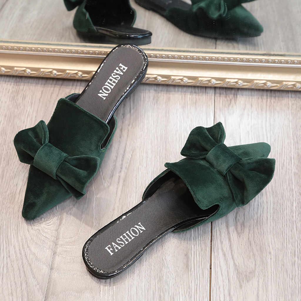 Mules Wanita Busur Menunjuk Musim Panas Sandal Datar Kawanan Kasual Slides Luar Ruangan Sandal Sepatu Wanita Ukuran Besar Тапочки Zapatos