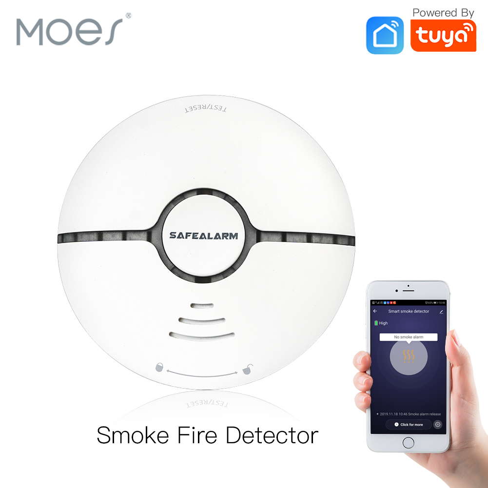 WiFi Smart Smoke Fire Alarm Sensor Detector Home Security System Battery-powered  Alarm Wireless Smart Life Tuya  App Control