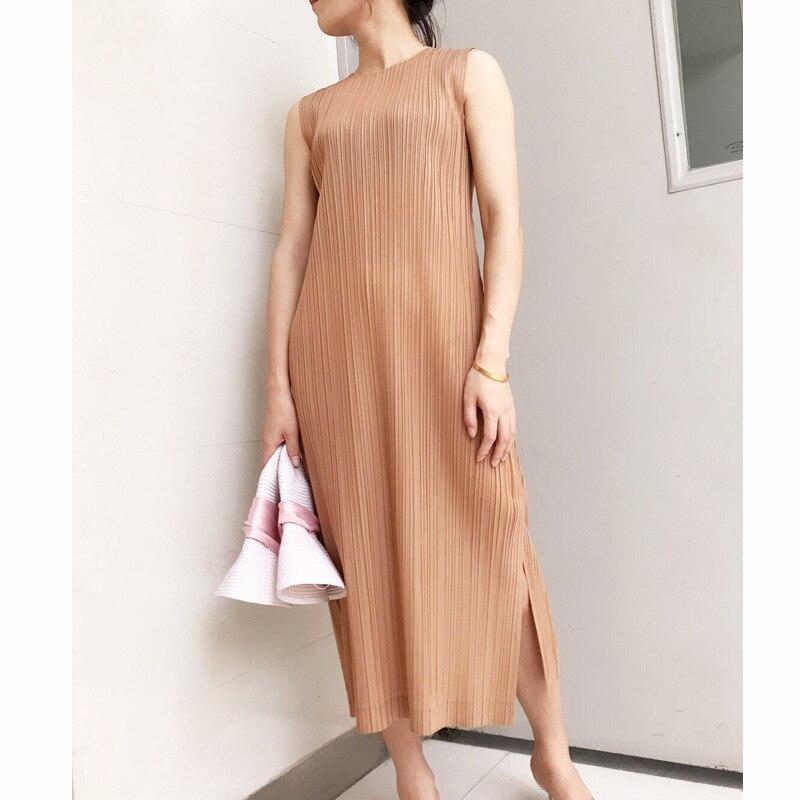 Miyake folds PP series basic solid color base  long vest dress free shipping