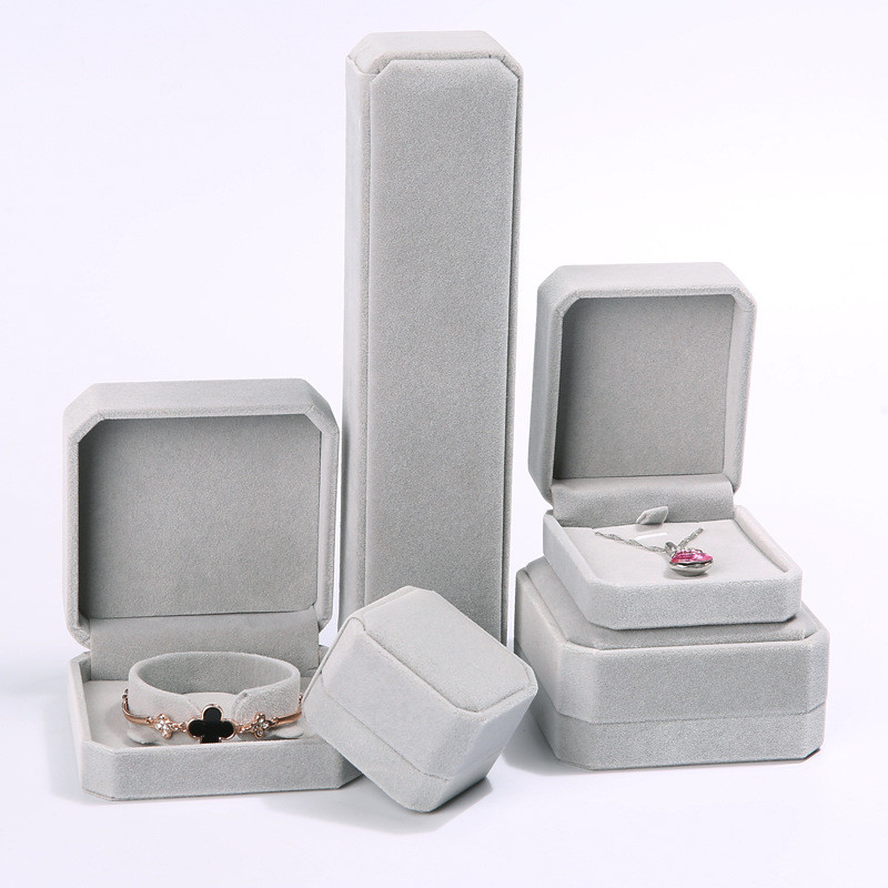 1Pcs gray Jewellery Case Earrings Necklace Bracelets Display Box Velvet Gift Boxes Amazing