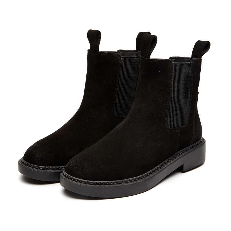 Botas de cuero genuino de mujer Chelsea de marca de invierno cálido botas de tobillo corto más plataforma de talla única zapatos Martin mujer 30